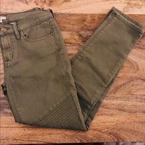 NWT J. Crew Skinny Moto Jeans Green Sz 26 Stretch